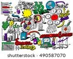 business idea doodles icons set.... | Shutterstock .eps vector #490587070