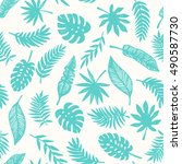 tropical leaves seamless... | Shutterstock .eps vector #490587730