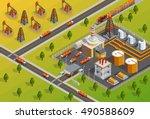petroleum industrial refinery... | Shutterstock .eps vector #490588609