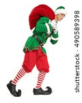 christmas time and green elf... | Shutterstock . vector #490589398