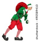christmas time and green elf... | Shutterstock . vector #490589410