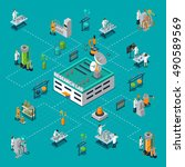 research laboratory isometric... | Shutterstock .eps vector #490589569