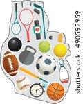 many sports in heart shape | Shutterstock .eps vector #490592959