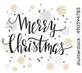 merry christmas. modern hand... | Shutterstock .eps vector #490594783