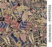 tracery seamless calming... | Shutterstock .eps vector #490595026