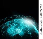 world map on a technological...   Shutterstock . vector #490597216