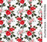 seamless floral pattern... | Shutterstock . vector #490598386