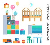 baby room set with furniture... | Shutterstock .eps vector #490600660