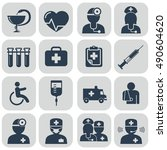 doctor and nurses icons on grey ... | Shutterstock .eps vector #490604620