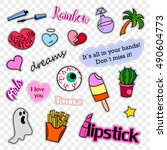 fashion patch badges. stickers  ...   Shutterstock .eps vector #490604773