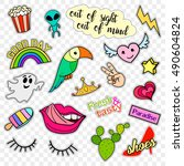 fashion patch badges. stickers  ... | Shutterstock .eps vector #490604824