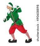 strong green elf on white... | Shutterstock . vector #490608898