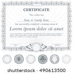 silver horizontal certificate... | Shutterstock .eps vector #490613500