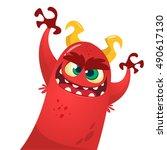 cute devil monster   Shutterstock .eps vector #490617130