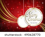 merry christmas template on red ... | Shutterstock .eps vector #490628770