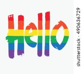 hello. english greeting word.... | Shutterstock .eps vector #490636729