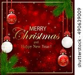 xmas theme  red sparkle... | Shutterstock .eps vector #490639009