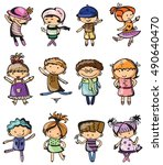 set of cute vector children.... | Shutterstock .eps vector #490640470