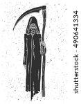 grim reaper hand drawn vector... | Shutterstock .eps vector #490641334
