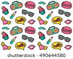 vector seamless fashion patches ... | Shutterstock .eps vector #490644580
