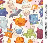 halloween seamless pattern with ... | Shutterstock .eps vector #490653253