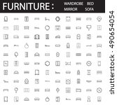 furniture line icon set.... | Shutterstock .eps vector #490654054