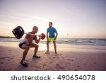 man exercising outdoors with... | Shutterstock . vector #490654078