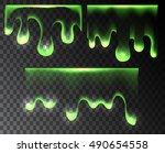 set transparent green paint... | Shutterstock .eps vector #490654558