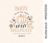 happy halloween poster. vector... | Shutterstock .eps vector #490655050