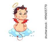 little crafty baby devil... | Shutterstock .eps vector #490655770