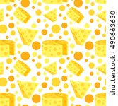 seamless pattern with cheese.... | Shutterstock .eps vector #490663630