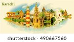 karachi city water color vector ... | Shutterstock .eps vector #490667560