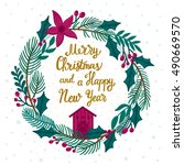 vector christmas card with... | Shutterstock .eps vector #490669570