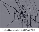 broken frosted window pane or...   Shutterstock .eps vector #490669720