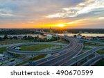 nonthaburi bridge in bangkok... | Shutterstock . vector #490670599