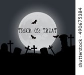 halloween trick or treat card... | Shutterstock .eps vector #490675384