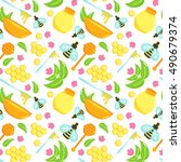 seamless pattern with honey... | Shutterstock .eps vector #490679374