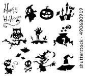 set of halloween black... | Shutterstock .eps vector #490680919