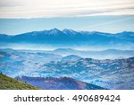 blue mountains at sunset with... | Shutterstock . vector #490689424