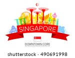 beautiful singapore travel... | Shutterstock .eps vector #490691998