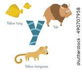 Cute Vector Zoo Alphabet. Funn...