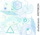 sacred geometry symbols and... | Shutterstock .eps vector #490708234
