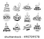 happy diwali typography set.... | Shutterstock .eps vector #490709578
