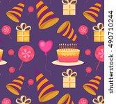 vector seamless pattern happy... | Shutterstock .eps vector #490710244