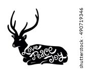 christmas deer silhouette with...   Shutterstock .eps vector #490719346