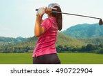 young women player golf swing...   Shutterstock . vector #490722904