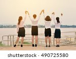 happy group of businesswomen on ... | Shutterstock . vector #490725580