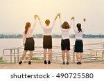 happy group of businesswomen on ... | Shutterstock . vector #490725580