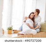 pregnancy. happy family future... | Shutterstock . vector #490727200