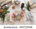 creative diy hobby. making bow... | Shutterstock . vector #490729408